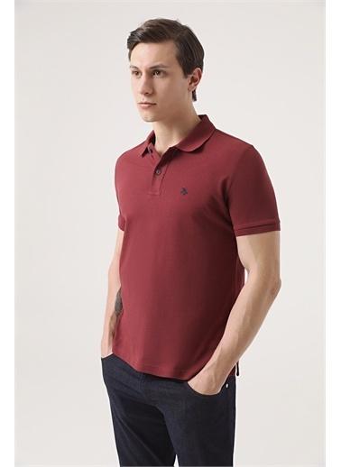 D'S Damat Ds Damat Regular Fit Vizon Pike Dokulu T-Shirt Bordo